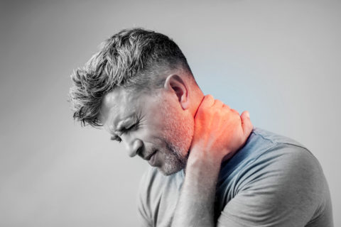 A man with neck pain