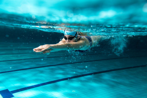 Female swimmer at swimming pool