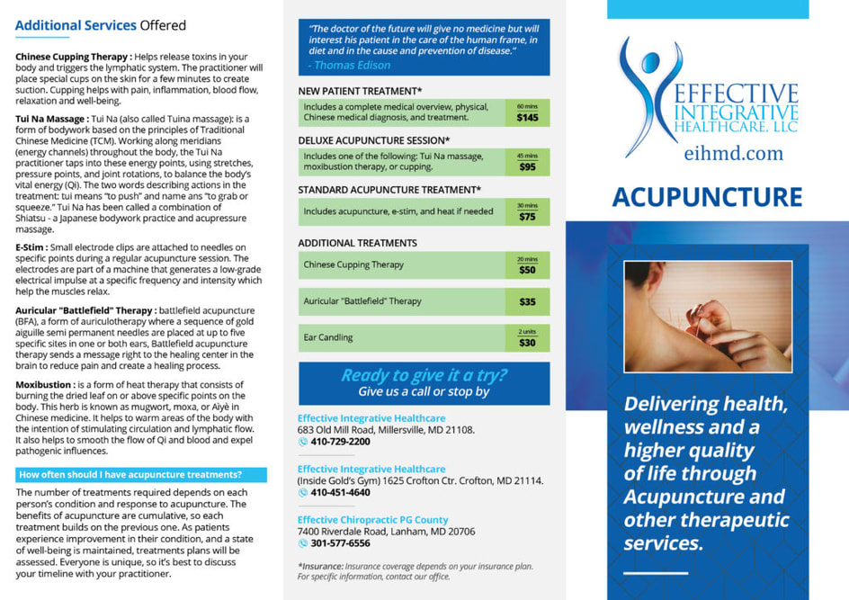 Effective Integrative Healthcare Acupuncture brochure